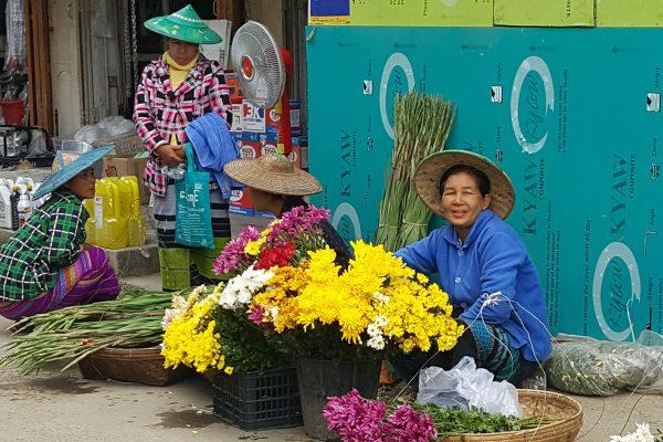 Burmese Women Are Selling Flowers On A Local Market, Kalaw, Myanmar