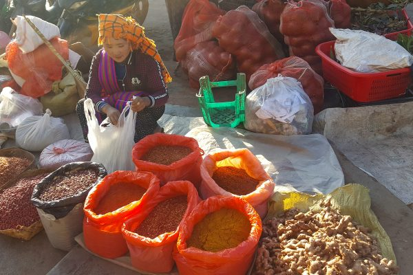 Burmese Woman Is Selling Nuts And Spices On A Local Market, Kalaw, Myanmar