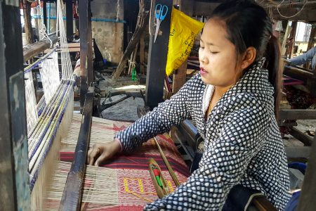 Burmese Weaver Produces A Traditional Fabric