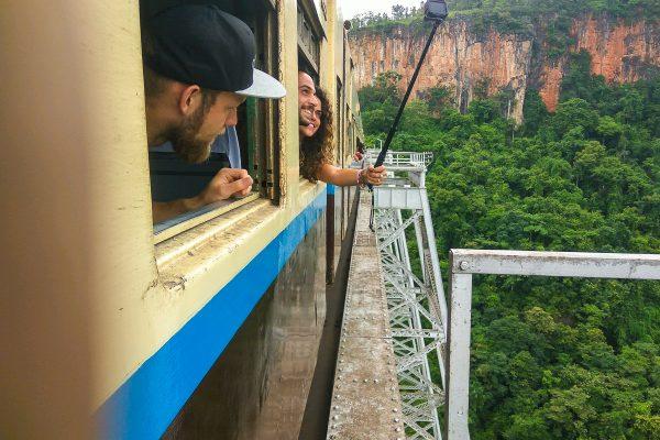 Train Is Crossing The Gokteik Viaduct Bridge