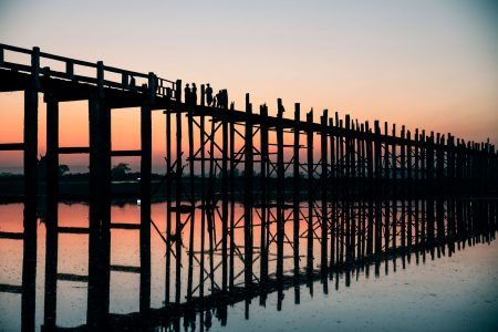 U-Bein Bridge During Sunset In Myanmar