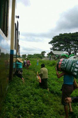 Burmese People Board A Train