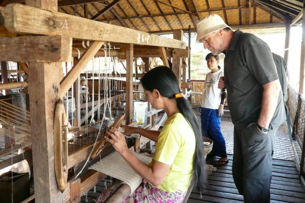 A Burmese Weaver Produces Lotus Silk Fabric