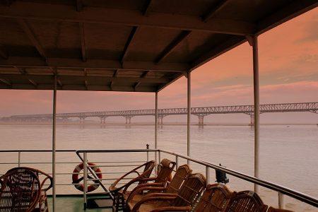 Bridge To Pakokku Seen From A Boat