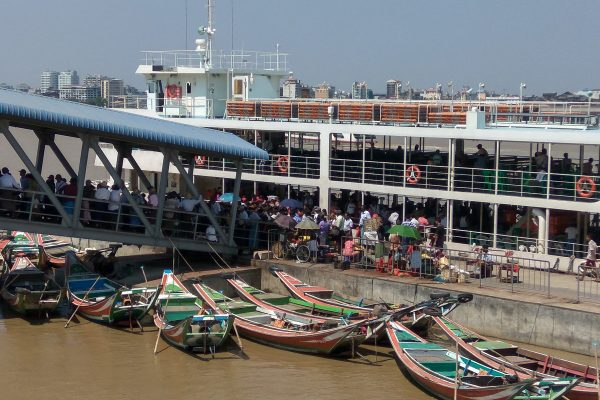 Busy Life At The Jetty In Yangon